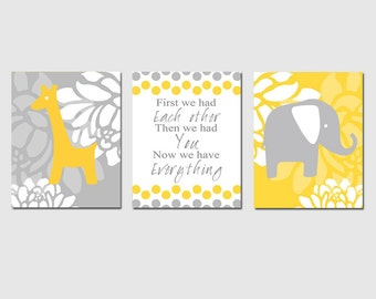 Baby Elephant Giraffe Nursery Art Trio - Set of Three 8x10 Prints - First We Had Each Other - Shown in Yellow and Gray