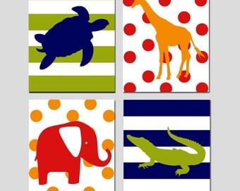 Safari Animals Nursery Art Quad - Elephant, Turtle, Alligator, Giraffe - Kids Wall Art - Set of Four 11x14 Prints - CHOOSE YOUR COLORS
