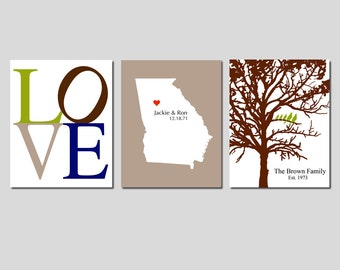 Bride and Groom WEDDING GIFT - Newlywed Family Trio - Set of Three 8x10 Custom Prints - Love, Family Established Tree, State Silhouette Map