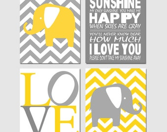 Nursery Art Chevron Elephant Love You Are My Sunshine Quad - Set of Four 8x10 Prints - CHOOSE YOUR COLORS - Yellow and Gray