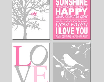 Baby Girl Nursery Art - Set of Four 11x14 Prints - You Are My Sunshine, LOVE, Birds in a Tree, Bird on a Branch - Shown in Dahlia Pink Gray