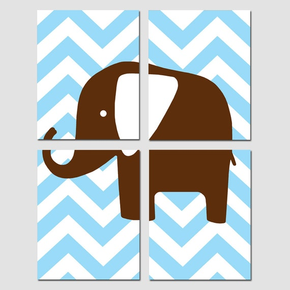 CHEVRON ELEPHANT - Modern Nursery Art Quad - Set of Four 11x14 Prints - Choose Your Colors - Shown in Baby Blue, Chocolate Brown and More