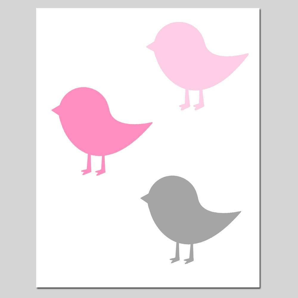 Baby birds 11x14 bird silhouette print modern nursery zoom amipublicfo Gallery