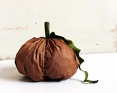 large fabric pumpkin - autumn home decor (butternut and green) - halloween thanksgiving fall
