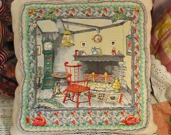 Cozy HOME SWEET HOME Soft Wool Pillow, Peaceful Autumn Cottage Fireplace Scene, Red Chair Green Clock, Organdy Ruffle, Vintage Barkcloth