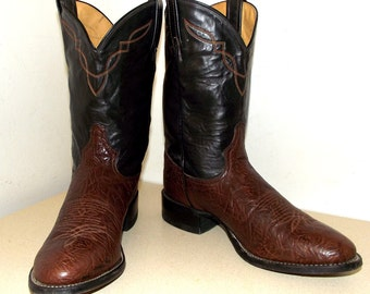 Two tone Brown Leather Tony Lama cowboy boots 9 D or cowgirl size 10.5 wide