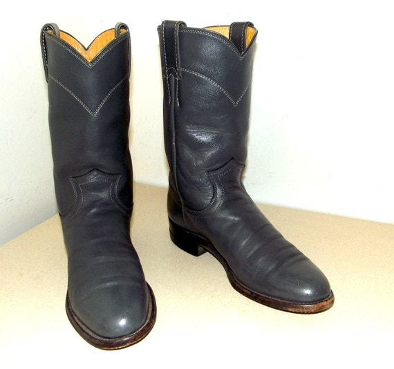 Vintage Grey leather Roper style cowboy boots in a cowgirl size 5.5 B