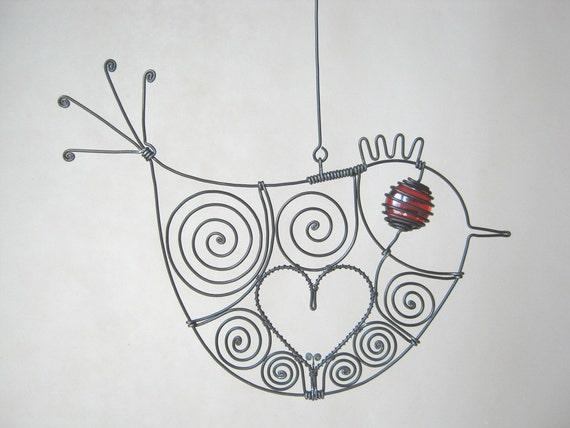 Love Bird In Red / Wire Art Hanging Sculpture