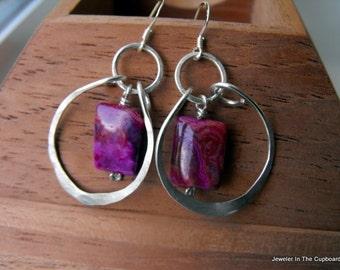 Pink earrings, funky pink earrings, hammered pink earrings, chunky pink earrings, fuchsia earrings