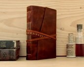 Dark Red Leather Journal with Tea Stained Pages - Memories