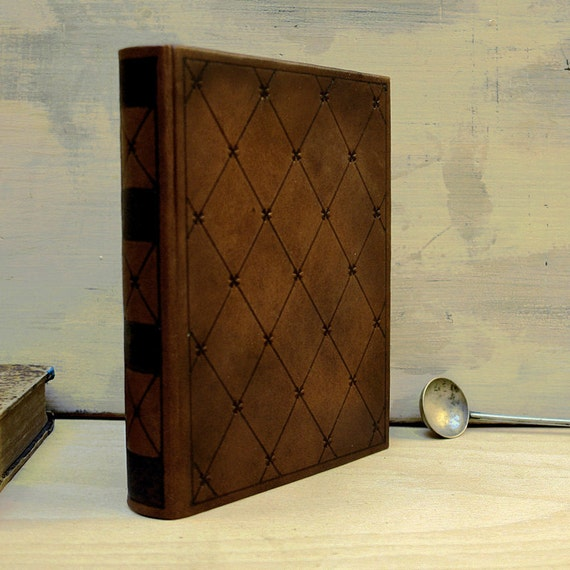 Dark Brown Leather Journal with Tooled Decoration