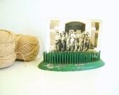 Vintage Flower Frog/Green Metal/Oval/Photo Holder/Wedding Decor/RollingHillsVintage