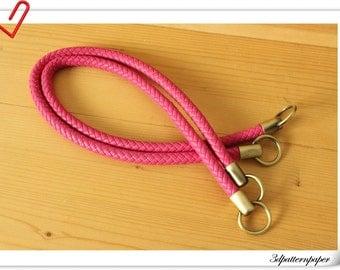 25 inch Crochet PU leather handles a pair rose M41B