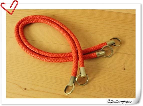 25 inch Crochet PU leather handles a pair Neon Orange   M41H
