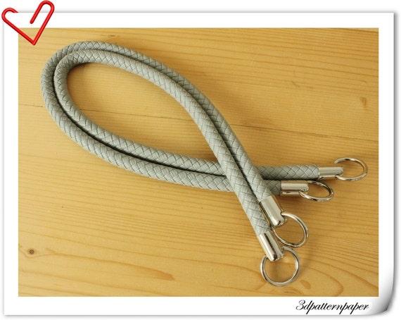 25 inch Crochet PU purse leather handles a pair Gray  M39D