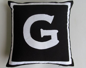 Letter G black and white monogram pillow cover 18 inch IN STOCK
