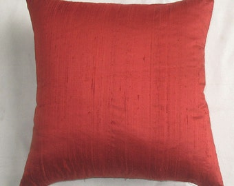 red dupioni silk decorative throw pillow cover 16X16 inch