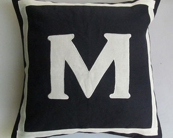 Letter M midnight blue and off white  monogram pillow cover 18 inch IN STOCK