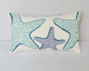 starfish pillow cover in aqua and cobalt blue  Deceretive sea themed cushion cover. 12X20 inch.    Long pillow