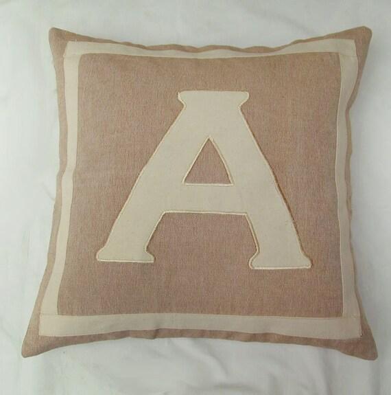 taupe and cream 16 inch custom made monogram initial pillows  Custom made