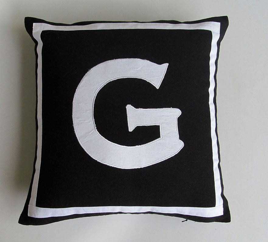 Letter G Black And White Monogram Pillow Cover 18 Inch In