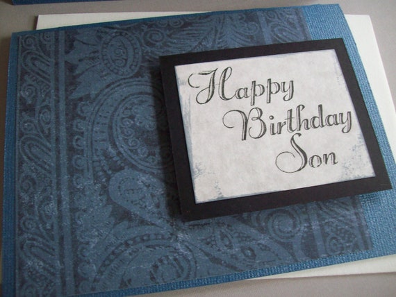 Son Birthday Card - Blue, Black and Gray Greeting Card - Handmade Card