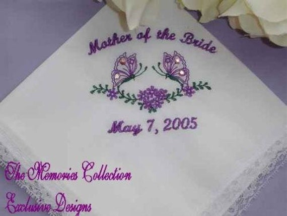 Butterfly handkerchief with swarovski crystals Mother of the Bride or Groom or Grandma