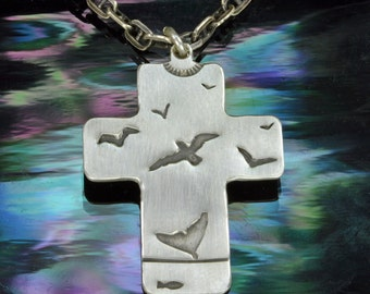 Sea Life Cross, Sterling SIlver