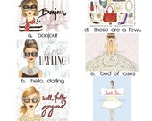 Pick and Choose- Set of 10 Assorted Fashion Illustration Greeting Cards