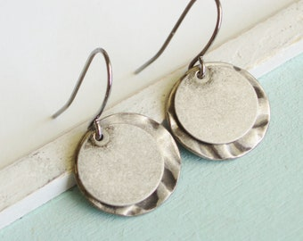 Grey Metal Earrings - Geometric Layered Silver Grey Coin Earrings