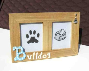 Final Markdown Sale...BULLDOG Dog Breed Wood Desktop Double Photo Frame w/Pawprint Charm CHOOSE Red or Blue Letter