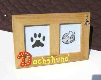 Final Markdown Sale...DACHSHUND Dog Breed Wood Desktop Double Photo Frame w/Pawprint Charm