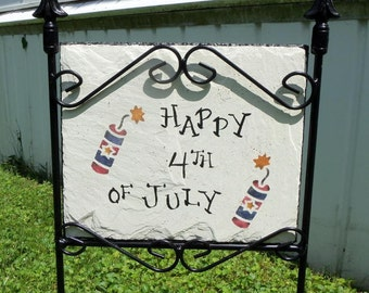 4th of July slate and holder