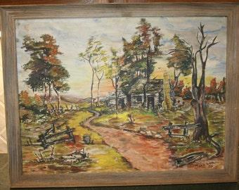 18 x 24 Vintage Post Impressionist LOG CABIN Farmstead Landscape Oil Painting