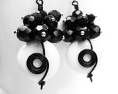 Black and White Wire Wrapped Earrings. Silver Beaded Long Cluster Earrings