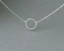 Tiny Circle Sterling Silver Necklace - Eternity Necklace - Karma Necklace