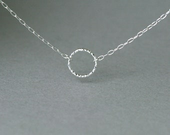 Tiny Circle Sterling Silver Necklace - Eternity Necklace - Karma Necklace