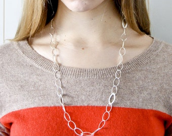 Sterling Silver Leaf Chain Necklace