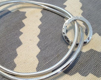 Sterling silver bangle set with round ring