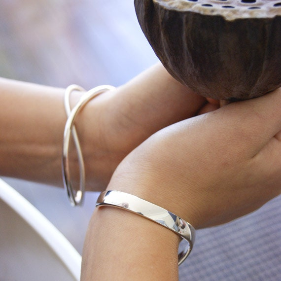 Sterling Silver Double Round Solid Bangle Set
