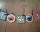 Sesame Street Highchair Banner- I am One- Elmo, Cookie Monster- Sesame Street Birthday Banner