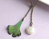 Leaf Pearl Lariat - Verdigris Patina, Ginkgo Jewelry
