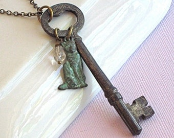 Skeleton Key/ Cat Necklace - Vintage, Verdigris Brass, Crystal