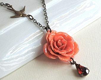 Real Orange Rose Necklace -  Bird, Brass
