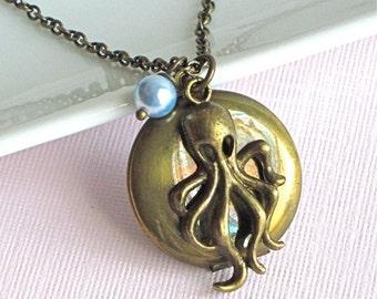 Octopus Locket Necklace -  Brass