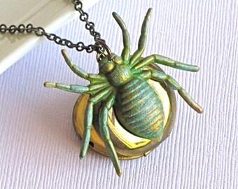 Spider Locket Necklace - Verdigris Brass