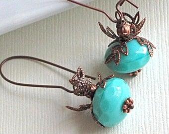 Turquoise Earrings - Czech Glass, Copper, Long