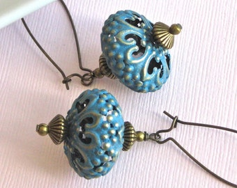 Blue Filigree Earrings - Bohemian, Moroccan, Patina, Long