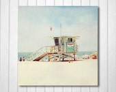 BUY 2 GET 1 FREE California Photography, Beach Photography, West Coast, Santa Monica, Beach, Sand, Lifeguard Hut, Wall Decor, California Art