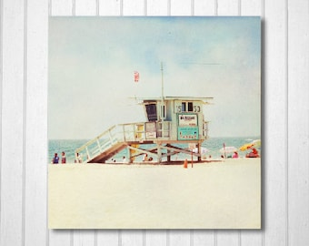 BUY 2 GET 1 FREE California Photography, Beach Photography, West Coast, Santa Monica, Beach, Sand, Lifeguard Hut, Wall Decor, California Art